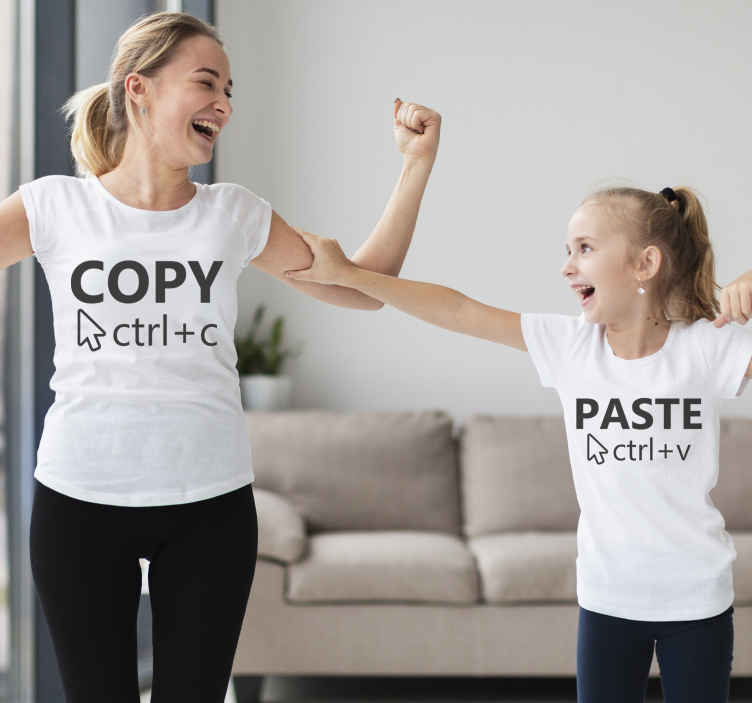 TenStickers. Copy paste shirt Mother and daughter shirt. Create a unique bond with your child with one of these mother and daughter t-shirts! these stickers with the text copy paste!