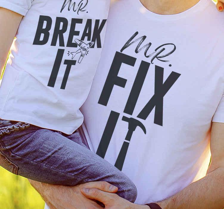 TenVinilo. Camiseta padre e hijo lo arregla y destruye. Nada es más hermoso que una relación entre padres e hijos. Compra esta camiseta de padres e hijos y elige color y tallas ¡Envío exprés!