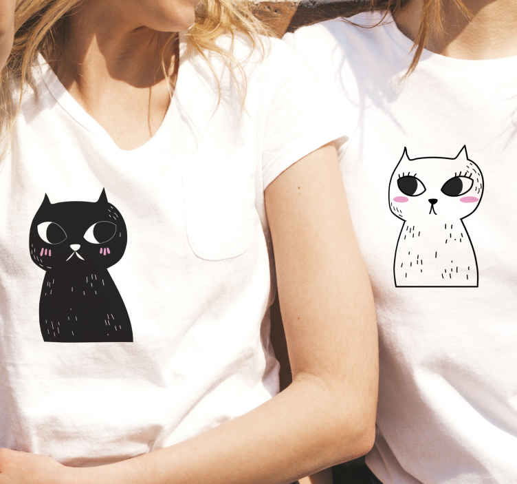 TenStickers. Matching Cats matching shirts for couples. Couple t-shirt set which  feature two pictures of cats, one in black and one in white with cute cartoon faces. Discounts available.