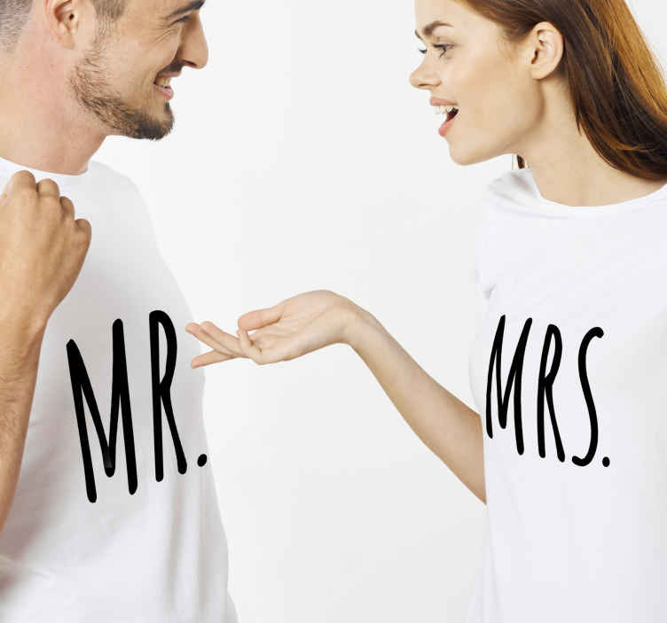 TenStickers. Mr. and  Mrs. matching shirts for couples. Mr and Mrs t-shirt which features the text Mr and Mrs in a cute, modern font. High quality materials used in production.
