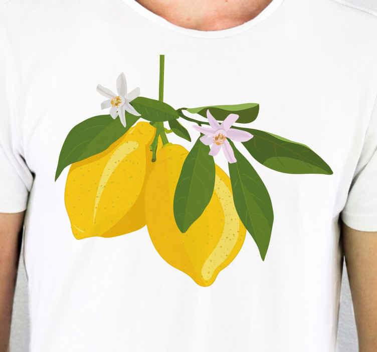 TenStickers. Lemon fruit tree cute t-shirt. An original t-shirt for men with design of lemons with leaves and stalk. If you love lemon, then you should have this shirt.