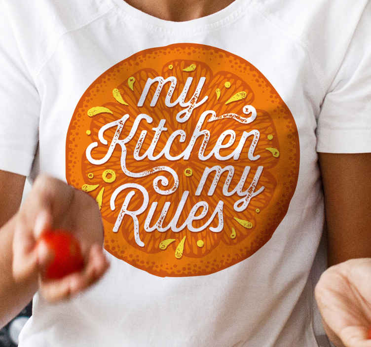 TenStickers. Orange hand draw kitchen text shit design. My kitchen my rule text t-shirt design that you would definitely love. Available indifferent sizes and the colour is customizable.