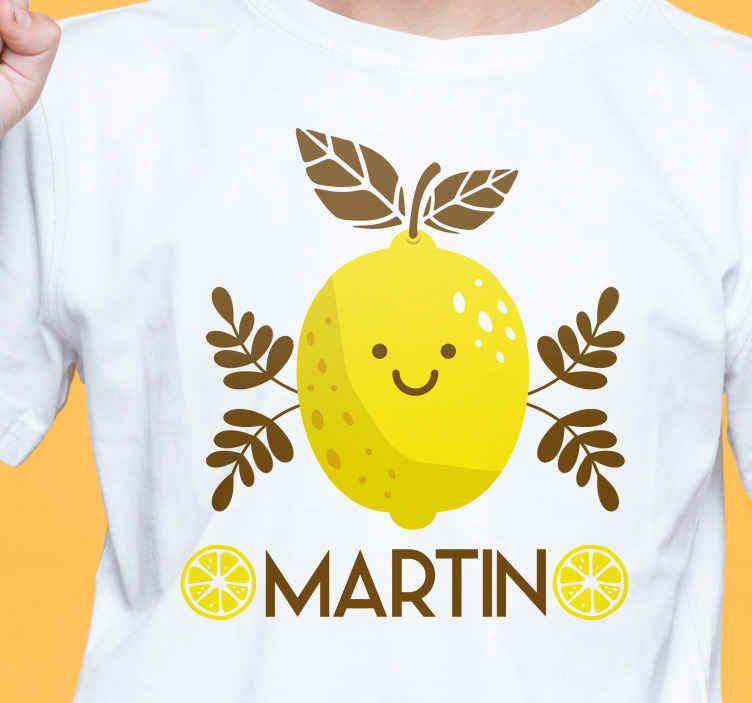 TenStickers. Smiling lemons  Kids shirt. Enjoy to wear our original smiling lemons t-shirt. Perfect for kids and tanagers and it can be personalized with the name you want.