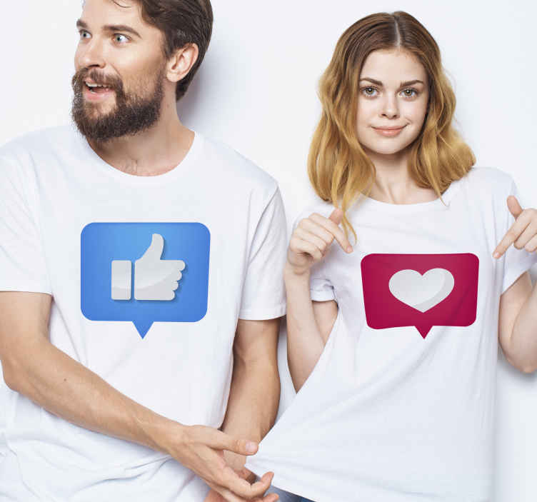 TenStickers. Thumbs up and Heart matching shirts for couples. Matching couple t-shirt set which features 2 t-shirts, one with a thumbs up and the other with a heart in a speech bubble.