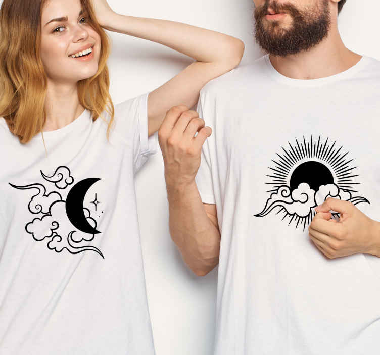 TenStickers. Moon, Sun and clouds matching shirts for couples. Matching t-shirt set which features two t-shirts, one with a moon on it and one with the sun! They make the perfect gift!