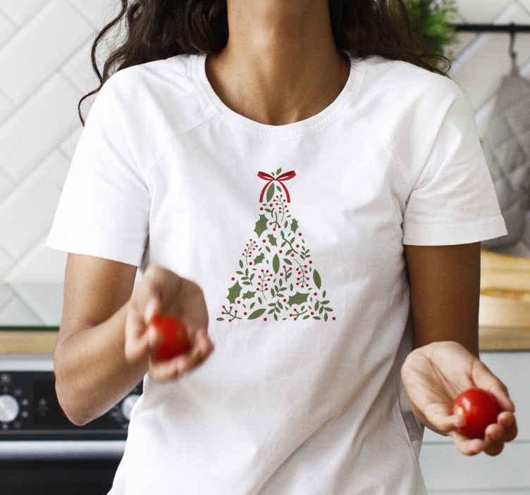 TenVinilo. Camiseta navideña árbol con lazo. ¿Qué mejor regalo para ti o para algo que conoces que esta camiseta navideña de árbol? Entrega a domicilio para este producto hoy!