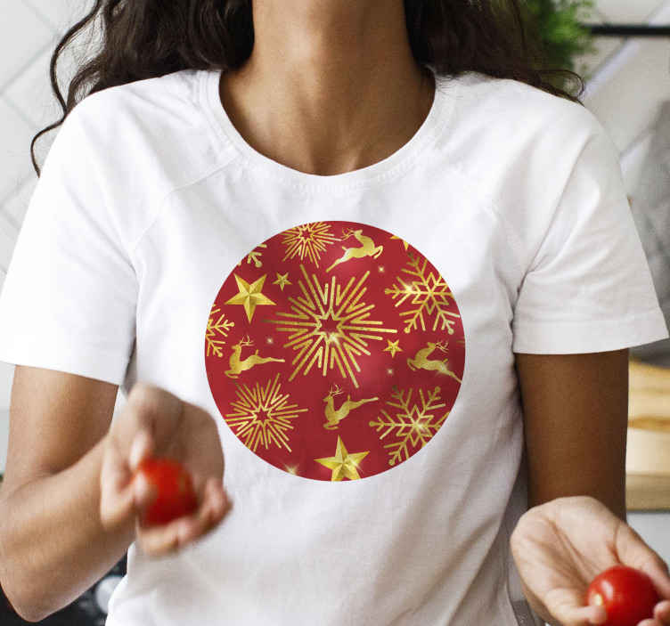TenStickers. elegant reindeers on red background christmas tee shirts. This cool and unique reindeer t-shirt product will surely bring your room so much more light! Worldwide delivery is available for this product.
