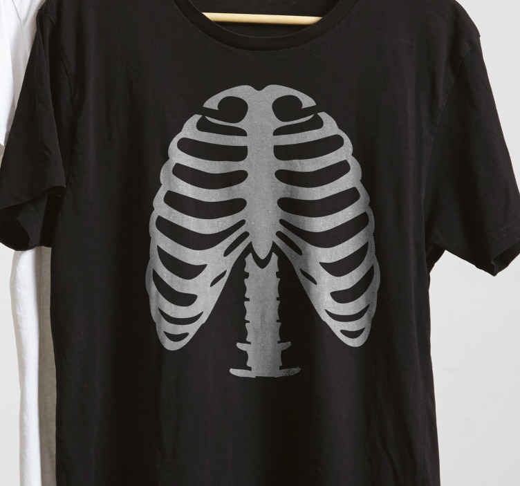 TenStickers. Ribs Skelet  Halloween t-shirt. Tenstickers offers this ribs skelet t-shirt  digitally printed, ensuring an exceptional quality of the visual.Let's get your custom skelet T-shirt.