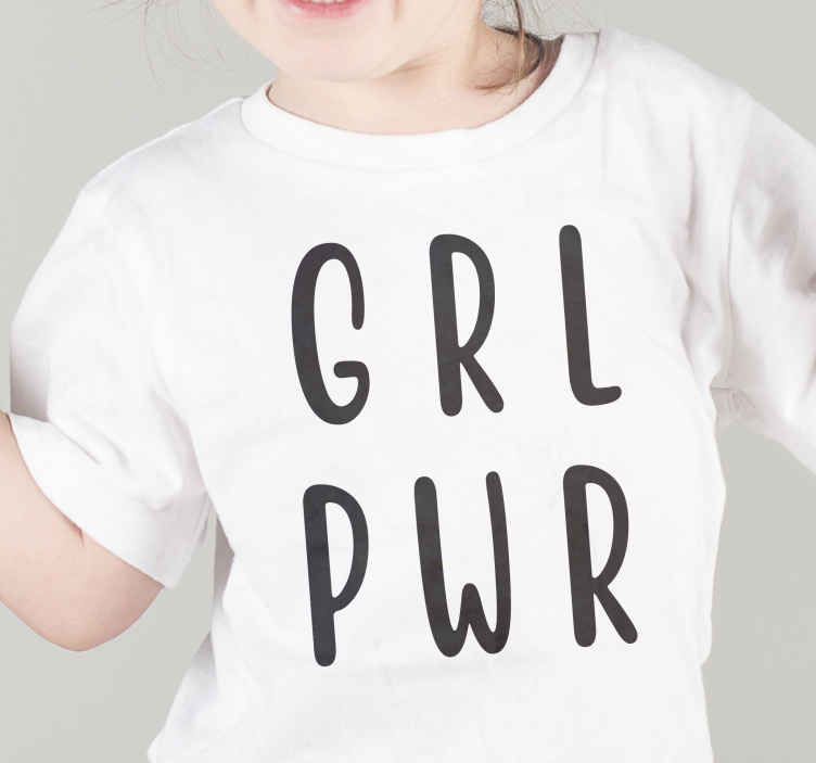 """TenStickers. Girl power Kids t-shirt minimalistic. This particular design is a minimalistic girls tshirt with a black text which says """"GRL PWR"""" meaning girl power. Adjust the size and colour. Must buy!"""