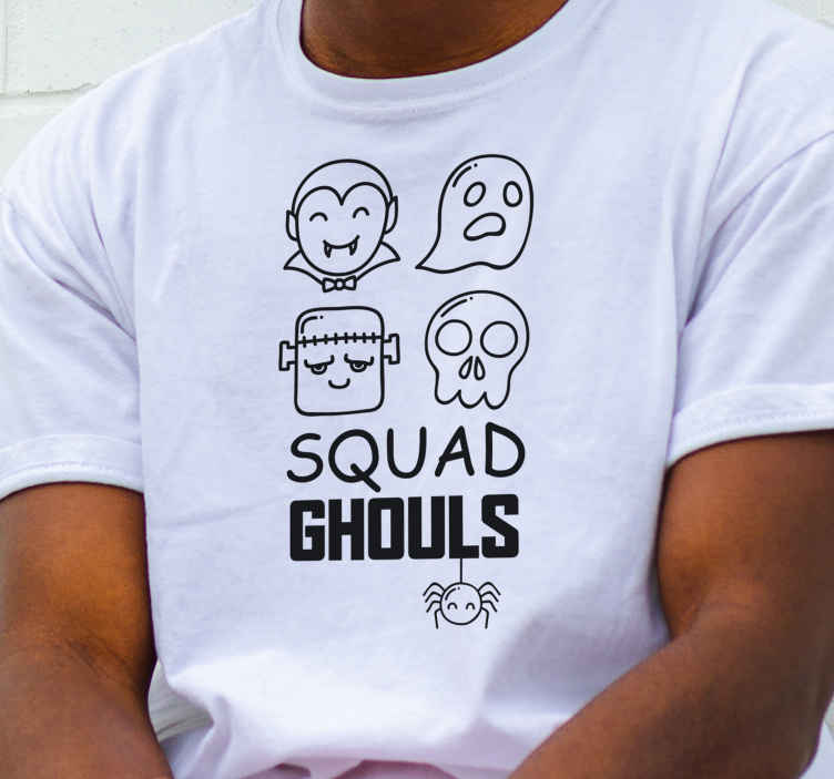 TenStickers. Squad ghouls skeleton Halloween t-shirt.  Squad ghouls skeleton Halloween t-shirt for men. Easy to maintain and made of high quality material. Available in different sizes.