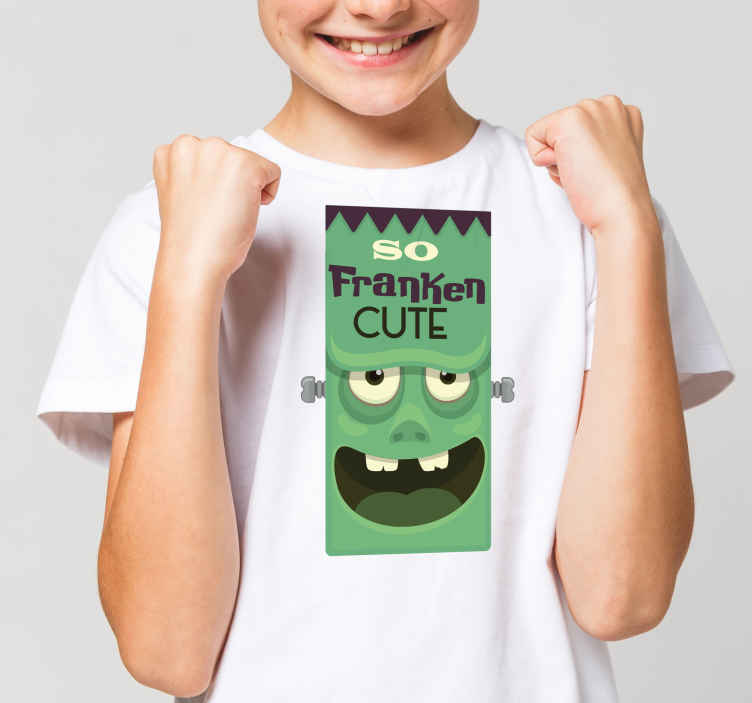 TenStickers. Cute Frankenstein Halloween t-shirt. Kids Halloween -shirt Let your kid enjoy Halloween festivity using our Halloween shirt. A scary face with the inscription '' So franken cute''.