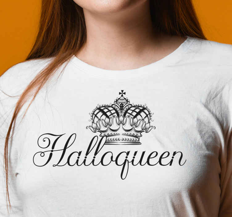 TenStickers. Halloqueen Halloween t-shirt. Stand out as an Halloween queen with this Halloween t-shirt design. The shirt has the design of a queen's crown and inscription ''Halloqueen''.