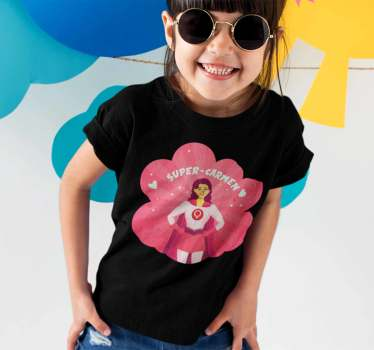 Great superheroin T-shirt for girls that you can personalize with the name of the lucky girl. A top quality children's T-shirt for the little ones.