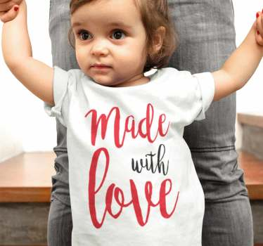 "Great kid's body or t-shirt with the message ""made with love"" in a nice font style. Don't hesitate to have a great baby bodysuit or t-shirt."