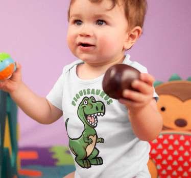 Body con un divertido dinosaurio y el texto que lo acompaña con la palabra pequesaurus, una ilustración infantil bonita para los niños