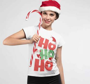 Funny Santa Claus T-shirt with the text Ho Ho Ho.  In each of the words there is a Christmas hat or a Santa Claus sticking out.