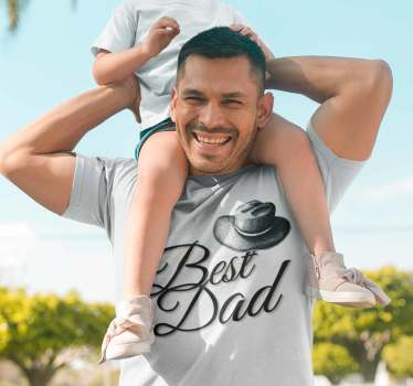 "A vintage-style dad's t shirt and a hat in the style of the Jones Indian. Ideal for a father's day gift since it is made with the text ""best dad""."