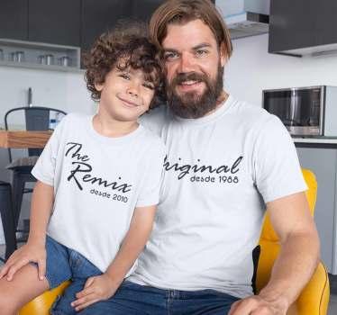 Camiseta a juego para padres e hijos con el texto The Original y el año de nacimiento del padre,para los hijos contiene el texto The Remix.
