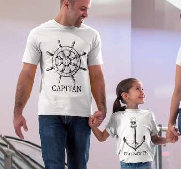 Camisetas a juego para padres e hijos con el diseño de capitán y grumete.Originales diseños que te dejarán alucinado. Hazte con ellas