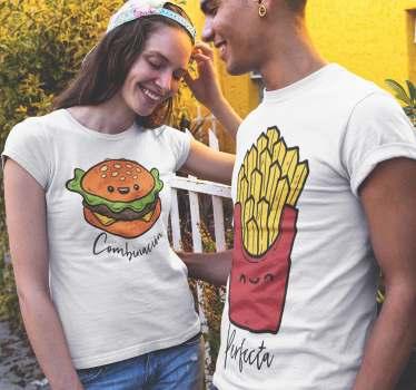 Una divertida combinación en camisetas para parejas o novios Cuando vas a comer una hamburguesa, está siempre está acompañada de patatas ¿Verdad?