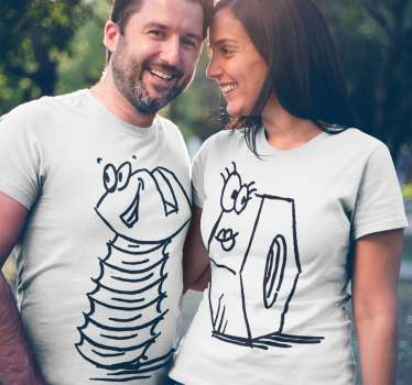 Funny illustrations t-shirts of a nut and bolt to dress a couple and at the same time make a funny wink with a spicy touch.