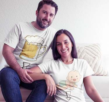 Funny combination of T-shirt for couples who are about to have a little baby in the family and want to show it in a nice and pleasant way to everyone.