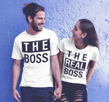 "Great t-shirt combination for couples and couples with the message ""The Boss"" and ""The real boss"". An ideal matching t-shirt for couples ."
