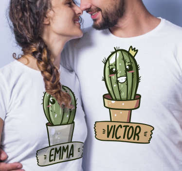 With this beautiful and unique pair of funny couple t-shirt with a personalized name, you would surprise everyone you meet on the street.