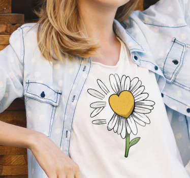 Show your love for flowers with this daisy heart flower t-shirt, with its beautiful yellow color and in a heart shape. Feel happy with it.
