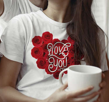 Choose our beautiful white t-shirt couple t-shirt with red roses. Ideal to give as a gift to your partner and show how much you love him/her.