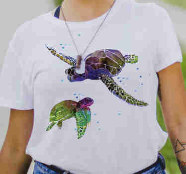 This turtles t-shirt is a very unique design because of the finish and the colors that make it special.  For further questions, contact us by mail.