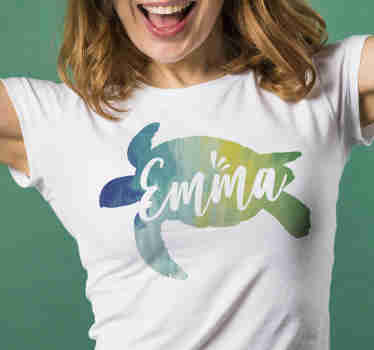 Colorful swimming turtle women's t-shirt. With this silhouette t-shirt you will definitely stand out wherever you go. It is easy to wash and iron.