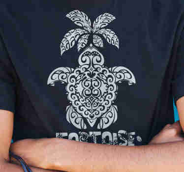 This black Hawaiian turtle and palm Pattern men's t-shirt is definitely something you should have in the house.  Brings an exotic look!