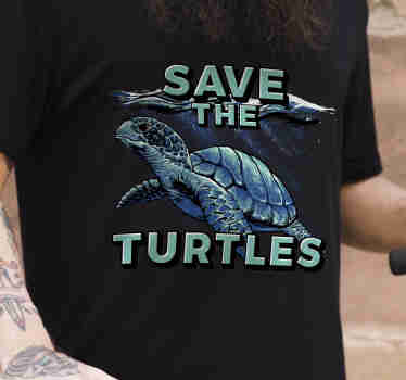 "Show your support by wearing this animal t-shirt. It has the message ""save the turtles"" on it. Motivate other people with this message."