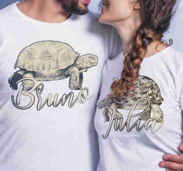 This beautiful and unique pair of turtle t-shirts for couples depicting a turtle, gives you the opportunity to enter a personal name.