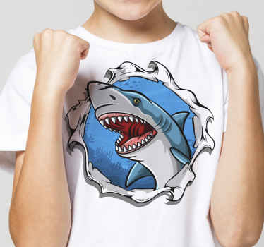Cool shirt for kids with a 3D shark design. It is available in different sizes and it is easy to use. The product is made of high quality.