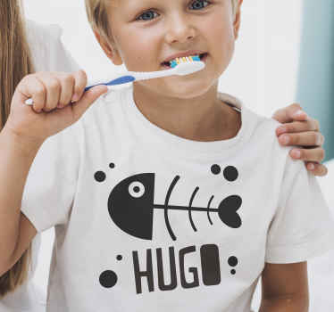 Buy our fish bone cool shirts for kid with customisable name to impress your kid. It is available in different sizes and colours.