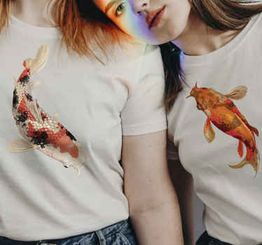 A matching couple t-shirt with koi design to wear with your spouse on special and a casual days out. It is available in different size.