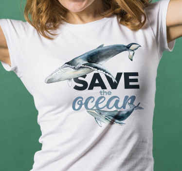Easy to wear t-shirt with the design of a fish and ''save the ocean text. It is available in different sizes and colour.