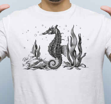 Simple t-shirt you can use for you unofficial outfit and feel comfortable and happy with. It is designed with an hand drawn seahorse.