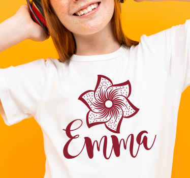 A simple t-shirt with paisley flower design, it is customisable with your name of choice. Easy to clean and available in various sizes and colours.