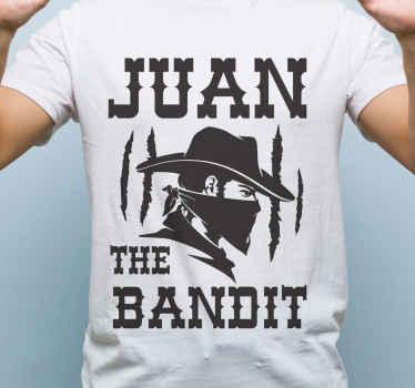 """Compra esta camiseta masculina con silueta de vaquero y la frase """"el bandido"""" en la que podrás personalizar tu nombre ¡Envío a domicilio!"""