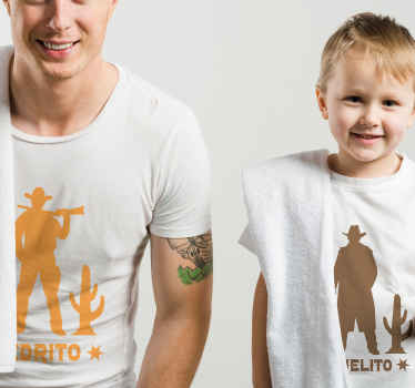 Matching cowboy silhouette pattern t-shirt design for father and son.  It is customisable with any name of choice, easy to maintain and iron.