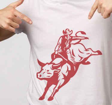 Camiseta masculino de vaquero encantador disponible en diferentes colores. Diseño con vaquero montando toro ¡Envío a domicilio!