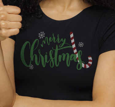 Candy Christmas Christmas shirt for women. On this shirt is printed a candy stick, snowflakes and ''Merry Christmas'' text.