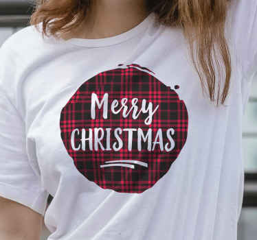 Tartan pattern Christmas shirt design with 'Merry Christmas'' inscription on it. A lovely design to rock your pair of jean, shorts and skirt.