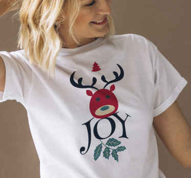 Joy and Reindeer Christmas shirt design for ladies. An amazing simple Christmas t-shirt design for ladies . It is easy to maintain.