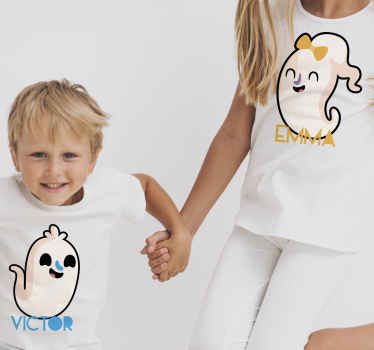Little ghosts Halloween shirt that you can gift to kids and teen. The kids Halloween t-shirt is customisable with any name of choice.