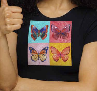 T-shirt original pour femmes avec sticker de papillons colorés sur fond carré. Original et facile à laver et à repasser. Disponible en différentes tailles