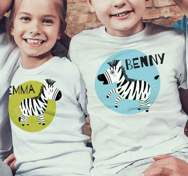Zebra t-shirt for kids which features a cute image of a zebra in a coloured circle with your child's name next to it. Choose your size.